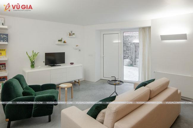 không gian nội thất hiện đại bên trong nhà tiền sử